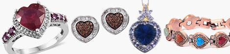 heart rings, earrings, pendant and bracelet.