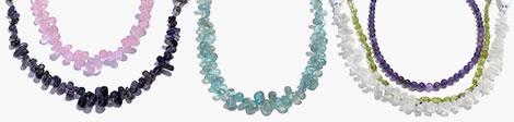 Explore rose quartz, iolite, apatite, moonstone, peridot and garnet beads strands.
