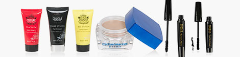 Find Cougar Beauty cleansing creams, Michael Marcus prime and Cougar Beauty mascara kit.
