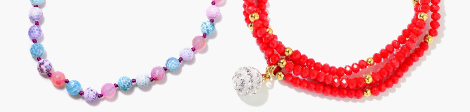 Multi gemstone and red colored beaded necklaces at Shop LC.