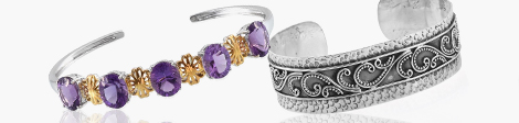 Amethyst and ethnic design style cuff at Shop LC.