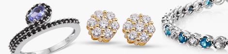 Sleek ring, floral stud earrings and line bracelet at Shop LC.