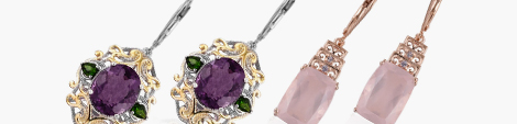 Two pairs of designer lever-back earrings amethyst, diopside and rose quartz at Shop LC.