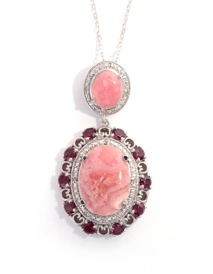 Gemstone argentina rhodochrosite jewelry information shop lc argentina rhodochrosite pendant with chain aloadofball Gallery