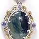 Australian vivianite pendant with chain for women.