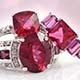 Blazing Red Topaz set of rings for women.