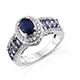 Blue spinel broad band ring in sterling silver.