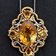Brazilian citrine pendant with chain.