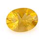 Canary yellow fluorite oval shape gemstone.
