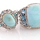 Cantonese blue aragonite set of two rings.