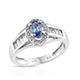 Ceylon blue sapphire halo ring with side stones in sterling silver.