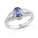 Ceylon blue sapphire ring in sterling silver for women.