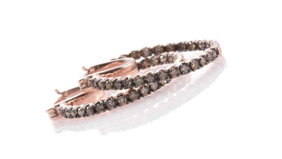 Champagne Diamond Hoop Earrings