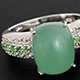 Classic ring with a cushion-shaped emerald quartz.