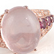 Galilea rose quartz ring in rose gold finish.