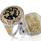 Goldenite set of rings for women.