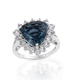 Indicolite Quartz trillion shape halo ring.