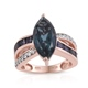 Indicolite Quartz ring for women in rose gold finish.