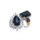 Indicolite Quartz set of rings for women.