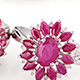John Saul ruby set of two floral rings in sterling silver.
