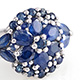 Kanchanaburi blue sapphire floral cluster ring for women.