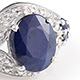 Kanchanaburi blue sapphire designer ring in sterling silver.