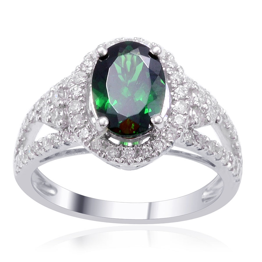custom pav w tsavorite garnet gemstone diamonds platinum ring
