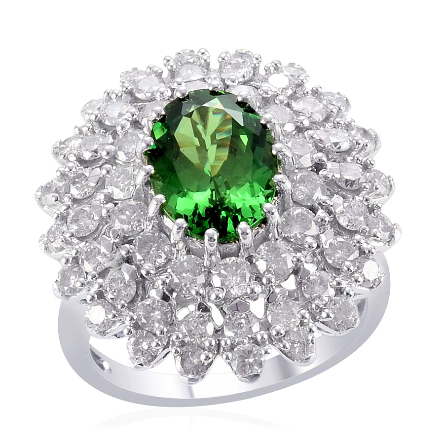 with platinum cut diamond carat ring new tsavorite garnet accents checkerboard rings