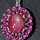 Floral pendant with Kenyan star ruby.