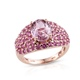 Kunzite ring in rose gold finish.