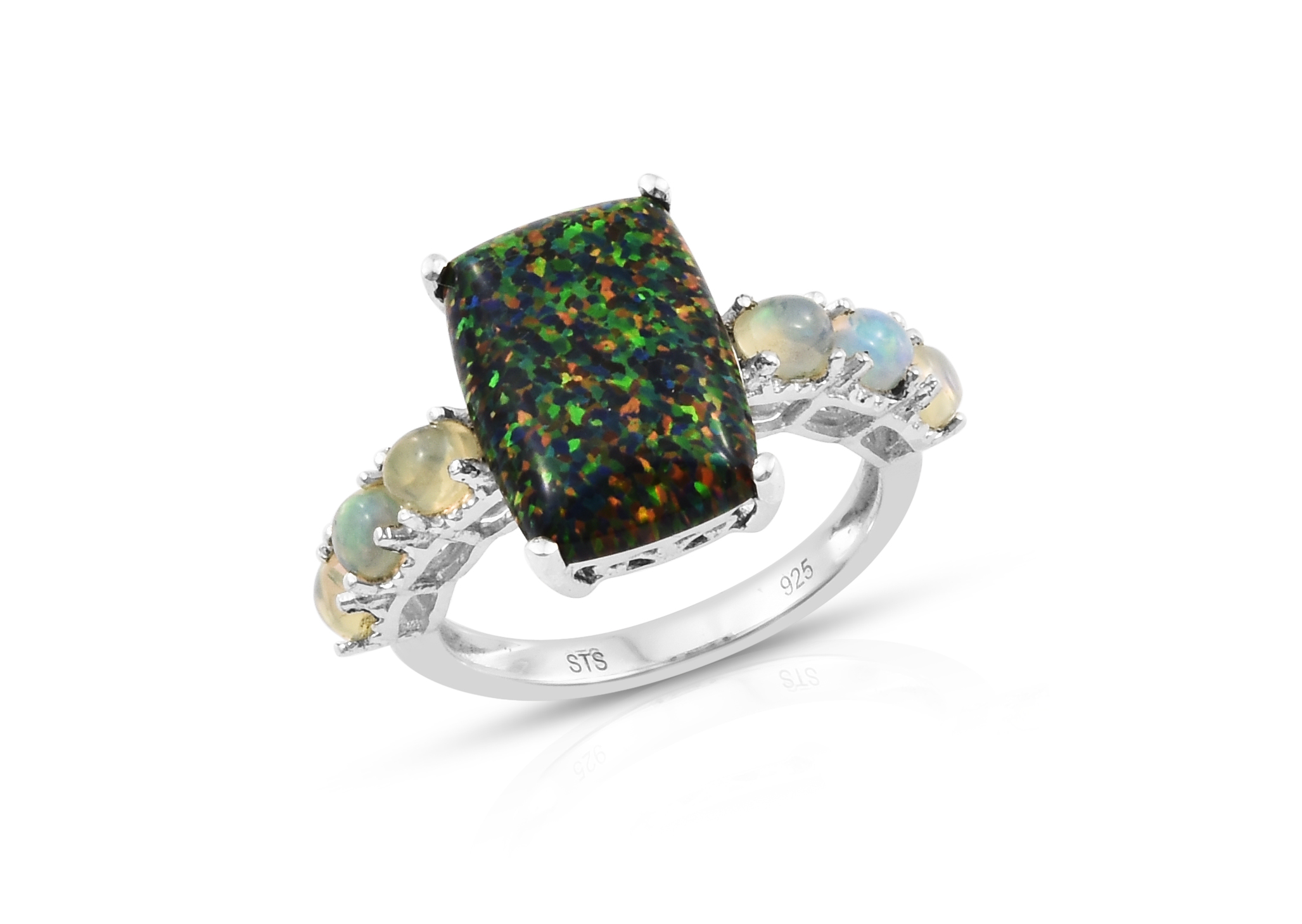 Shop lab created black ridge opal ring.