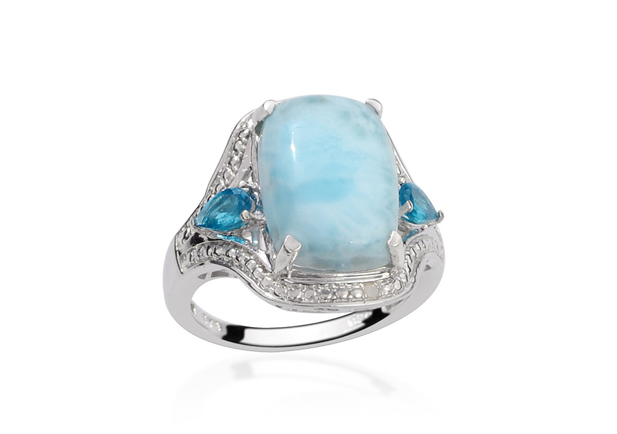 Larimar Ring For Women In Sterling Silver.
