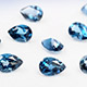 London blue topaz pear shape faceted gemstones.