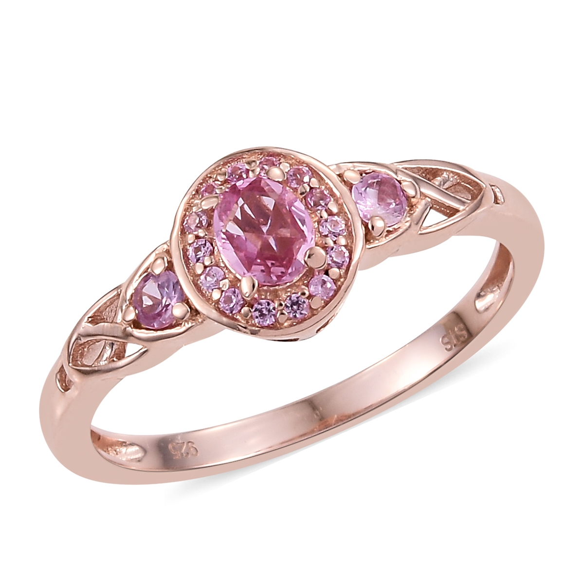 plated pink p gold silver eternity ring band in over rose rings pav sapphire pave
