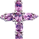 Madagascar pink sapphire cross pendant with chain for women.