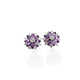 Mauve sapphire floral stud earrings.