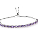 Mauve sapphire hobo bracelet in sterling silver for women.