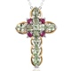 Brazilian mint garnet cross pendant with chain.
