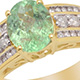Mozambique Paraiba tourmaline ring in yellow gold finish.