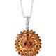 Mystic twilight topaz floral pendant with chain.