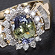 Tanzanian Green Zoisite ring in yellow gold finish.