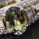 Tanzanian Green Zoisite broad band ring for women.