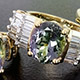 Tanzanian Green Zoisite set of three rings for women.