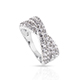 Natural white zircon criss cross ring in sterling silver.