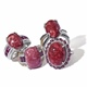 Four Norwegian thulite statement rings.