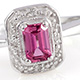 Ouro Fino rubellite cushion shape ring in sterling silver.