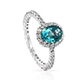 Paraiba topaz halo ring in sterling silver.