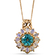 Paraiba topaz pendant with chain in yellow gold finish.