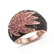 Pink tourmaline designer cluster ring for women.
