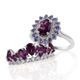 Purple garnet rings in sterling silver for women.